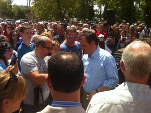 Ted Cruz, in blue shirt, in Little Rock Aug. 12.