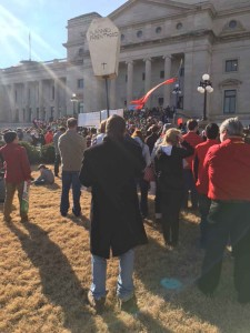 A pro-life supporter expresses his opinion at the Capitol in Little Rock during the March for Life January 17.
