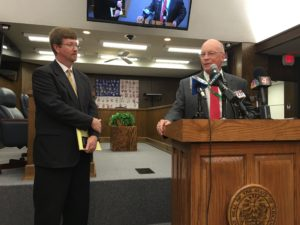 Education Commissioner Johnny Key, left, and Little Rock School District Superintendent Baker Kurrus speak to reporters after Key did not renew Kurrus' contract. Because of the state takeover of the LRSD, Key, who entered office after the takeover, effectively serves as the district's school board.